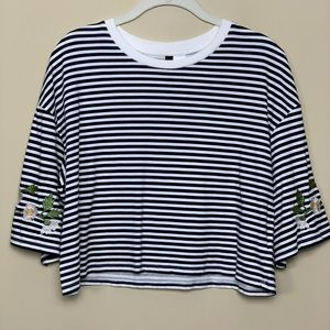 Divided H&M Striped Crop Top with Flowers
